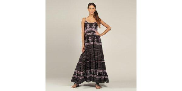 Dámské dlouhé černo-fialové šaty Coline