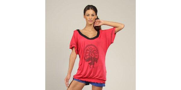 Dámské růžové tričko s potiskem Coline