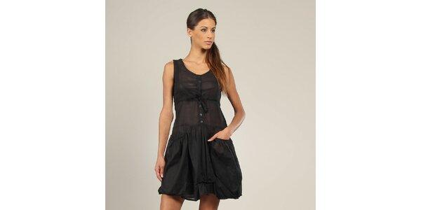 Dámské černé šaty s kapsami Coline