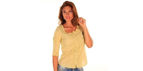 Dámská žlutá puntíkovaná halenka s mašlí Wanda