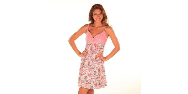 Dámské krátké růžové šaty na ramínka Wanda