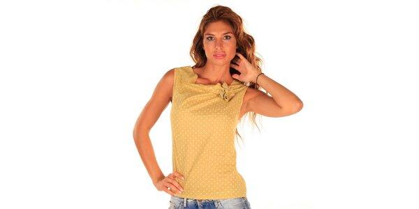 Dámský šafránově žlutý top s puntíky Wanda