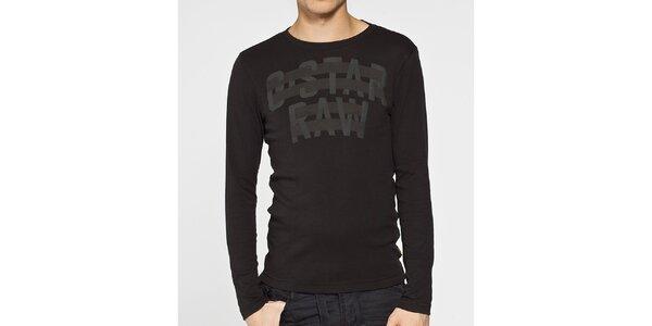 Pánské černé tričko G-Star Raw se šedým potiskem a dlouhým rukávem