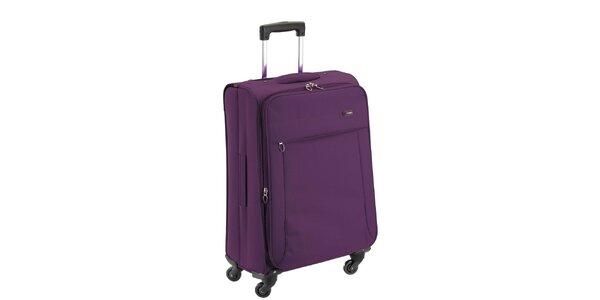 Fialový látkový kufr na kolečkách Valisa