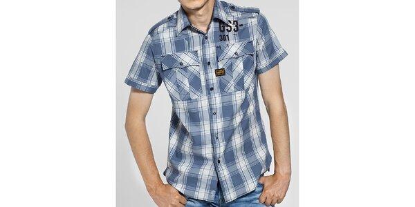 Pánská šedomodrá kostkovaná košile G-Star Raw