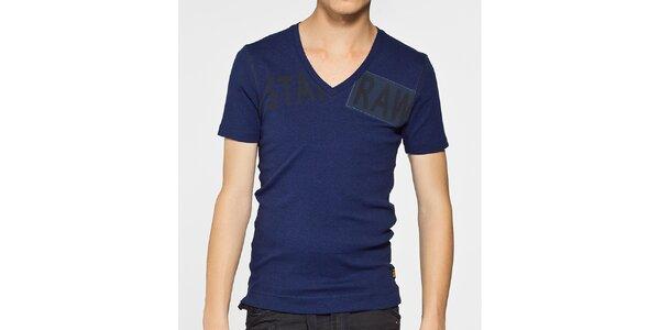 Pánské tmavě modré melírované tričko G-Star Raw s potiskem