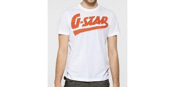 Pánské bílé tričko G-Star Raw s oranžovým potiskem