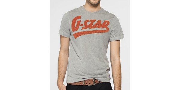 Pánské světle šedé tričko G-Star Raw s oranžovým potiskem