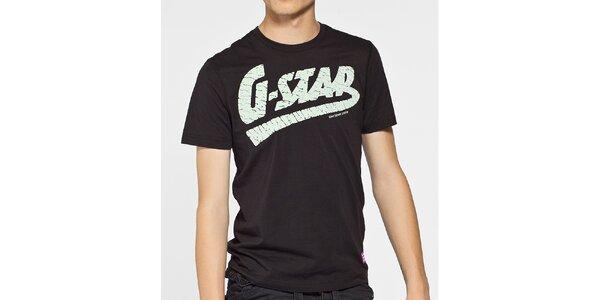 Pánské černé tričko G-Star Raw s bílým potiskem
