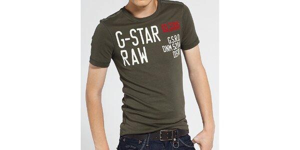 Pánské tmavě zelené tričko G-Star Raw s potiskem