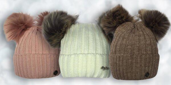 Pletená čepice se dvěma bambulemi 9689e895ea