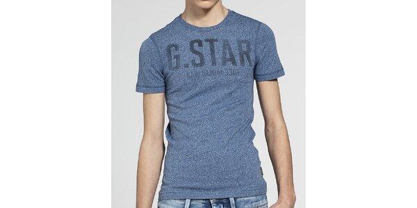 Pánské modré melírované tričko G-Star Raw s potiskem