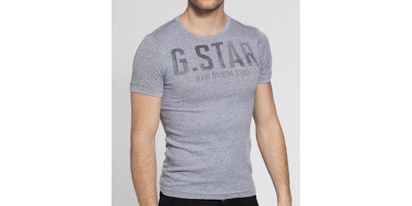 Pánské světle šedé melírované tričko G-Star Raw s potiskem