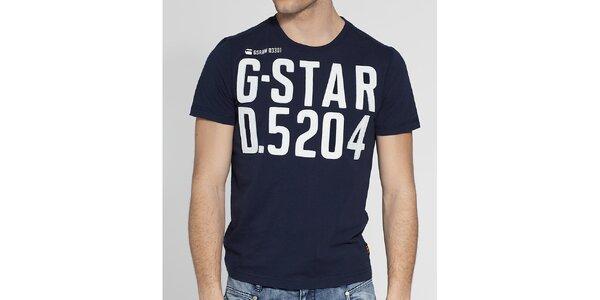 Pánské tmavě modré tričko G-Star Raw s bílou nášivkou