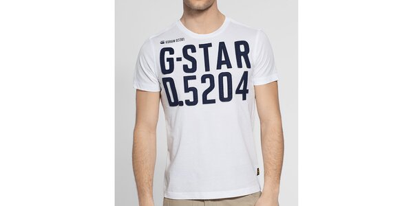 Pánské bílé tričko G-Star Raw s tmavě modrou nášivkou