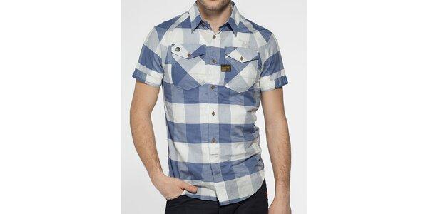 Pánská světle modrá kostkovaná košile G-Star Raw s krátkým rukávem