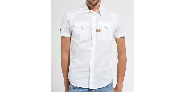 Pánská bílá košile G-Star Raw s krátkým rukávem