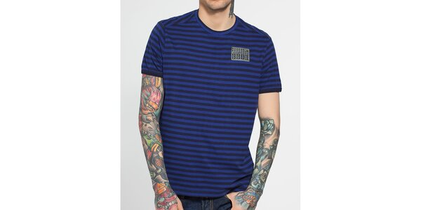 Pánské tmavě modré proužkované tričko G-Star Raw