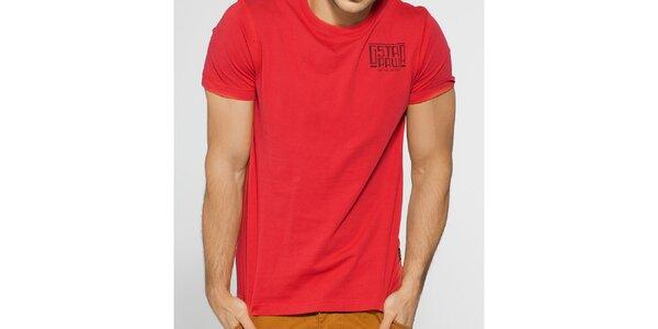 Pánské červené tričko G-Star Raw s černým potiskem