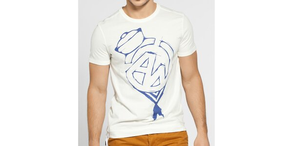 Pánské krémové tričko G-Star Raw s fialovým potiskem