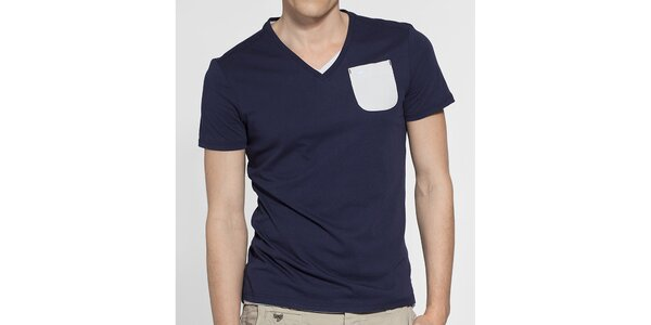 Pánské tmavě modré tričko G-Star Raw s bílou kapsičkou