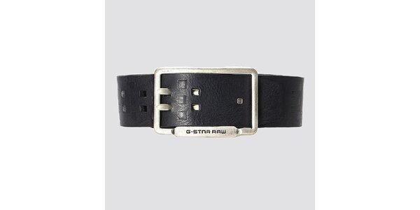 Pánský černý kožený pásek G-Star Raw s geometrickým vzorem