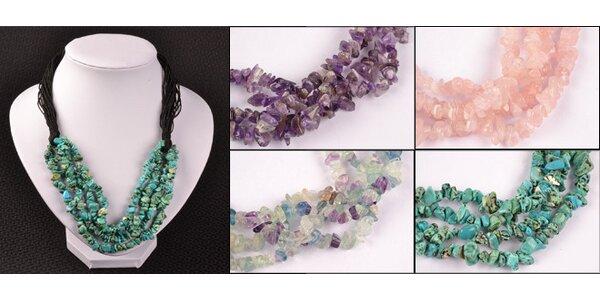 Elegantní náhrdelník s různými druhy drahých kamenů