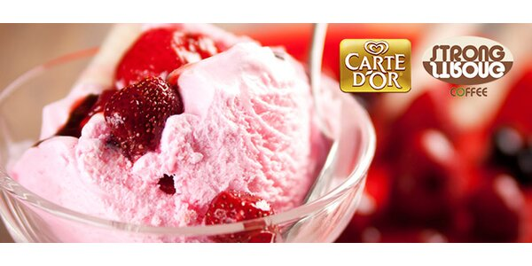2 zmrzlinové poháry Carte d'Or v kavárničce Strong Coffee