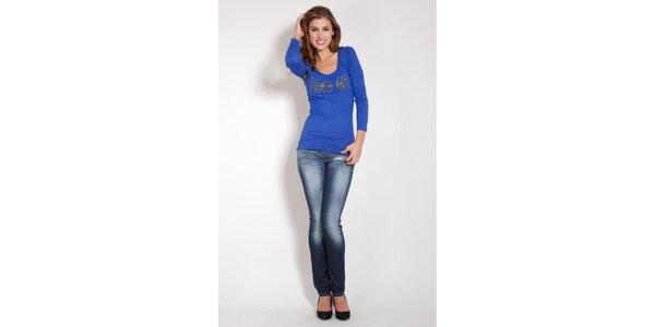 Dámské zářivě modré tričko Lois s řetízky