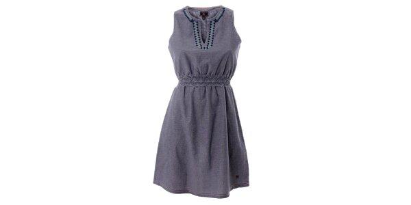 Dámské šedé bavlněné šaty s barevnou výšivkou Lee Cooper