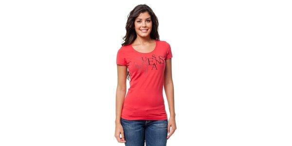 Dámské červené tričko Guess s potiskem s kamínky