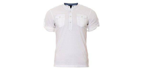 Pánské bílé tričko SixValves s knoflíčky