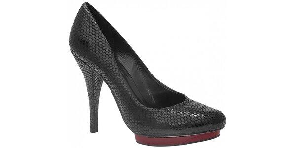Kožené lodičky značky Via Uno v černé barvě s hadím vzorem