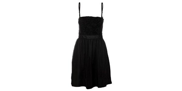 Dámské černé hedvábné korzetové šaty Miss Sixty