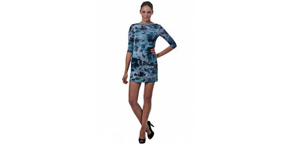 Dámské modré mini šaty Miss Sixty s květinovým potiskem
