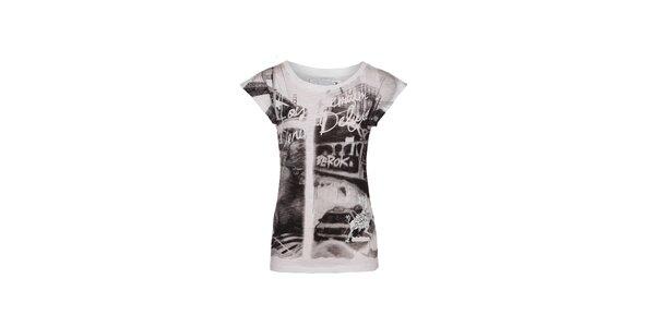 Dámské bavlněné tričko Lois s černobílým potiskem