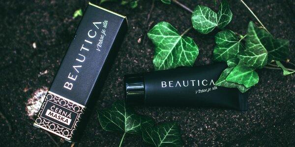 Černá pleťová maska Beautica vyrobená v ČR