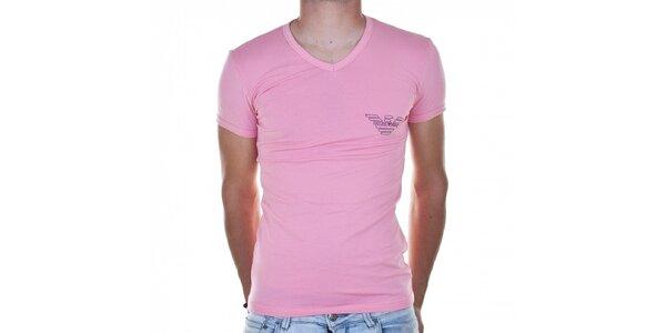 Pánské světle růžové tričko Emporio Armani s potiskem