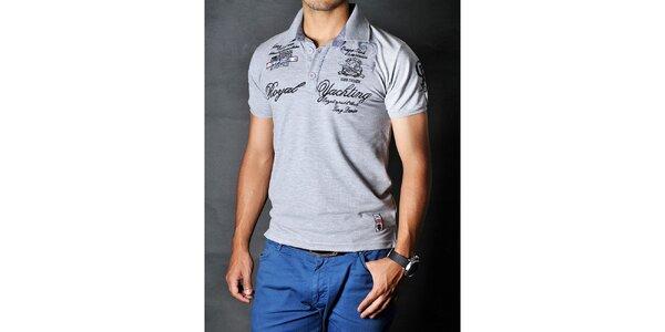 Pánské šedé polo tričko s nášivkami Pontto