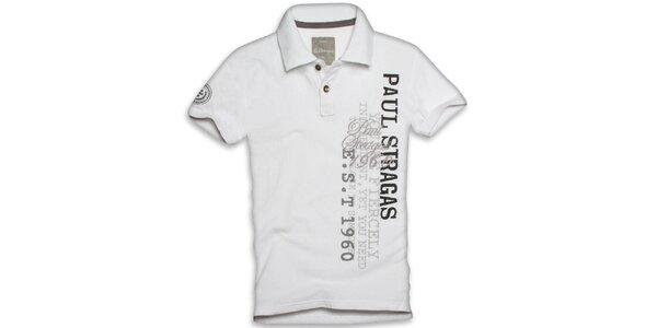 Pánské bílé polo triko s potiskem Paul Stragas