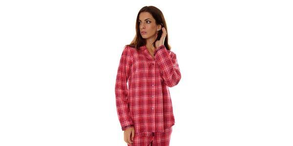 Dámský růžový kostkovaný pyžamový kabátek Calvin Klein