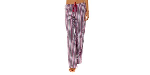 Dámské růžovo-fialové proužkované pyžamové kalhoty Calvin Klein