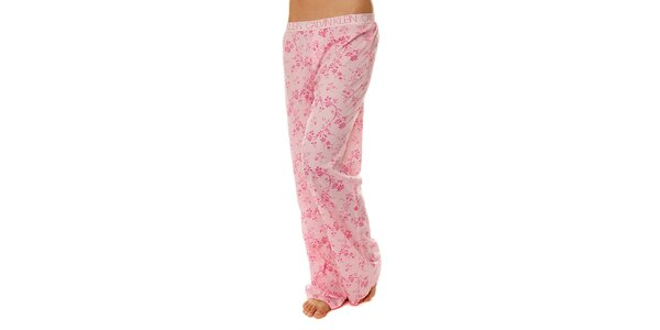 Dámské růžové pyžamové kalhoty Calvin Klein s kvetinovým potiskem