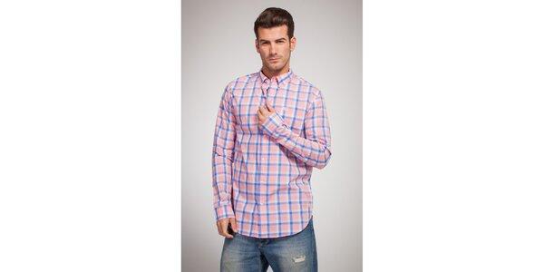 Pánská růžovo-modrá kostkovaná košile Bendorff