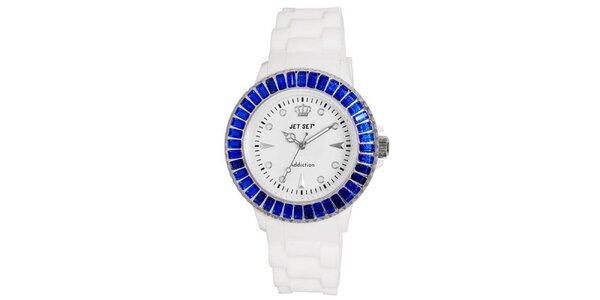 Bílé sportovní hodinky s modře orámovaným ciferníkem Jet Set
