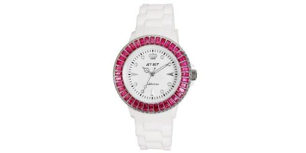 Bílé sportovní hodinky s růžově orámovaným ciferníkem Jet Set