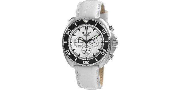 Bílé hodinky s koženým řemínkem Jet Set
