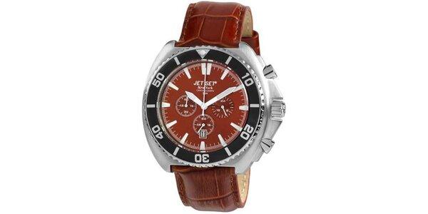 Hnědé hodinky s koženým řemínkem Jet Set