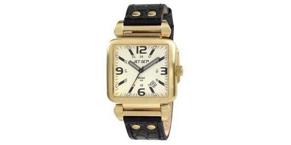 Zlaté hranaté hodinky s černým koženým páskem Jet Set