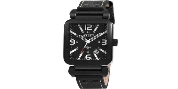 Černé hranaté hodinky s černým koženým páskem Jet Set